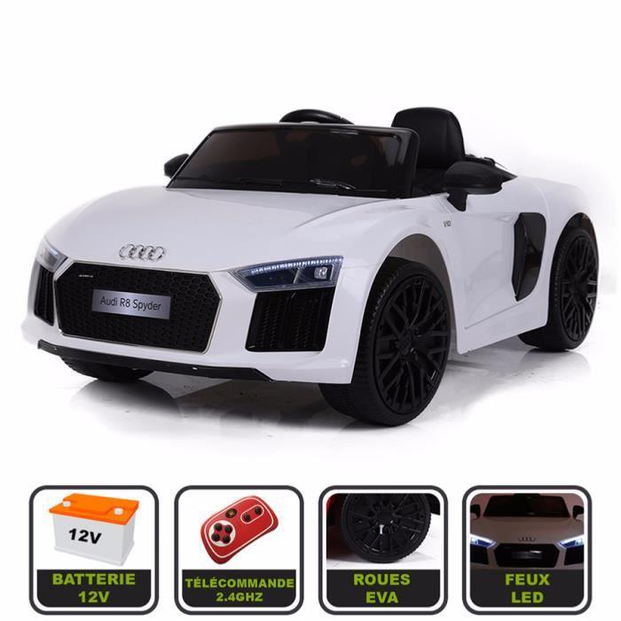 Voiture de sport électrique 12V pour enfant Audi R8 Spyder Cristom® - Télécommande 2.4Ghz- Slot USB et prise MP3 - Licence Audi blanc 0cee3116bd7f