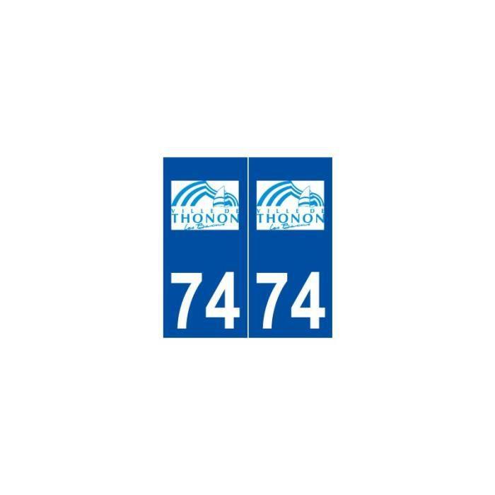 74 Thonon-les-Bains logo autocollant plaque stickers ville - Angles ...