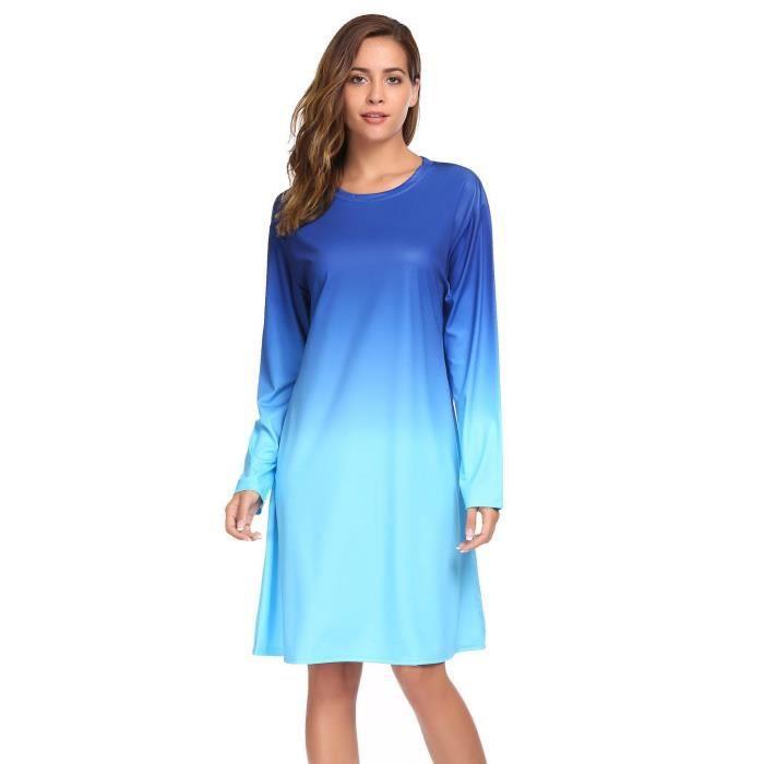 dégradé couleur ample Femmes de Casual Robe XEqxnInAw
