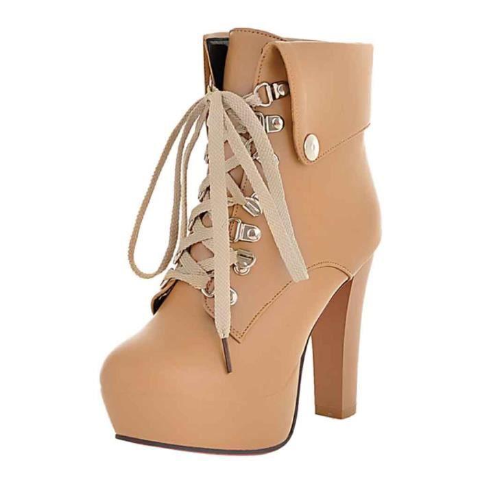 Bout Courtes frenchshop1736 Sexy Lacets Femme Haut Mode Chaussures Cheville forme Bottes Rond Talon Plate qztwOBw7x