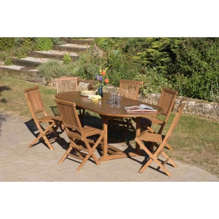 Salon de jardin en teck comprenant 1 table ovale L 180-240 x L 100 ...