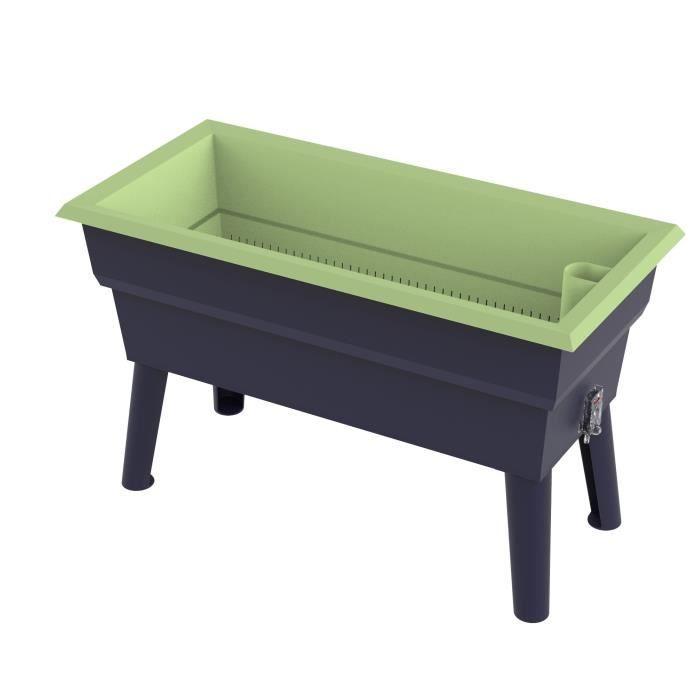 CALIPSO Jardinière Mini en plastique recyclable - 40 L - Gris et vert  tilleul