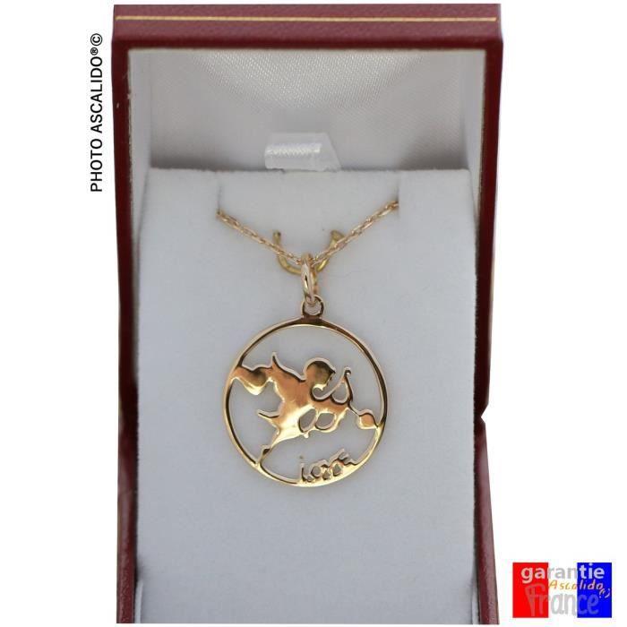 Pendentif cupidon en plaqué or pour femme avec sa chaine 45cm et boite coffret eros ange de lamour