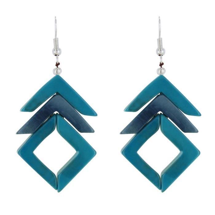 Les Poulettes Bijoux - Boucles dOreilles Mana en Tagua Bicolore - Turquoise