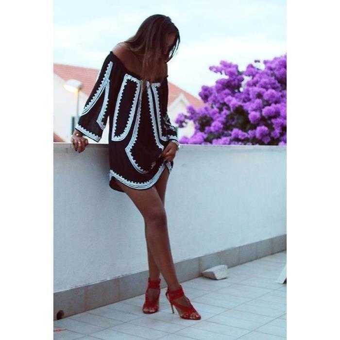 FINEJO Robe Femme longue Sexy au large de lépaule Slash cou manches impression