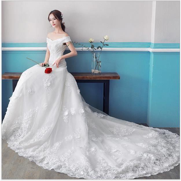 Robe de mariée 2017 nouvelle mariée épousée épaule à épaule Coréenne Slim était mince mariage à queue longue