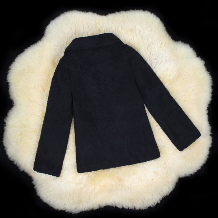 Pardessus Veste Noir Hiver Poil En Fourrure Couverture Ouvert Chaud SS5fqWrw