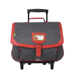TANN'S Trolley 2 compartiments primaire garçon - 38 cm - Rouge