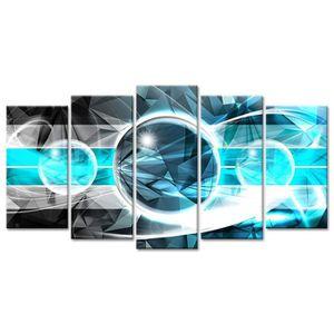 TABLEAU - TOILE Tableau Déco Abstrait Design Géométrique - 150x80