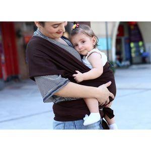 a106e1ff7ee Écharpe de portage pour porter bébé porte kangourou baby carrier Sac à dos  Porte Bébé en coton+lycra élastique tabouret bébé-Café