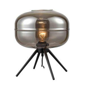 LAMPE A POSER Lampe moderne à poser TASSIA en verre fumé chrome