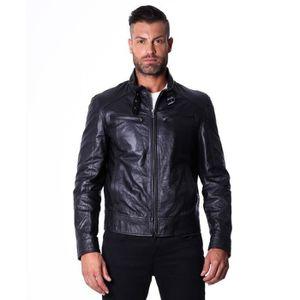 619c5c85a7 BLOUSON MAX couleur noir blouson cuir homme style motard