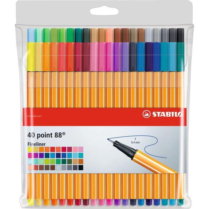 Pochette x 40 stylos-feutres point 88STYLO - PARURE DE STYLO - RECHARGE