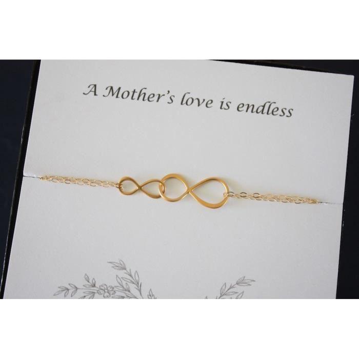 Mère Infinity Bracelet Infinity Bijoux Femmes Délicat Double Infinity Gold vermeil- X51DW