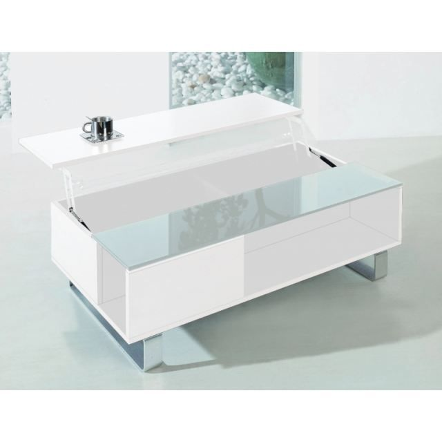 table basse plateau relevable lincoln blanc achat. Black Bedroom Furniture Sets. Home Design Ideas
