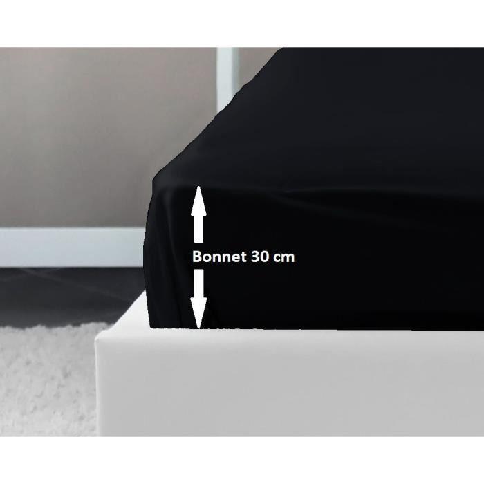 drap housse noir LOVELY HOME Drap Housse 100% coton 90x190x30 cm noir   Achat  drap housse noir