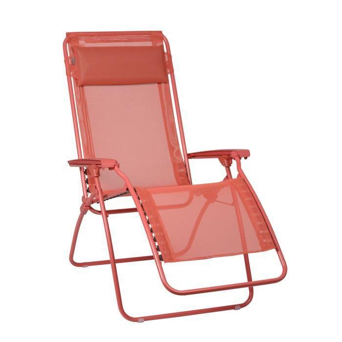 Chaise longue relax multiposition pliante en acier et for Chaise longue en toile