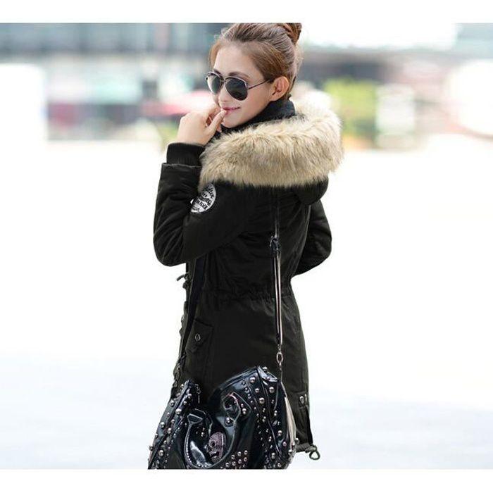 Très Manteau femme parka fille fourrure avec capuche Noir - Achat  OA33