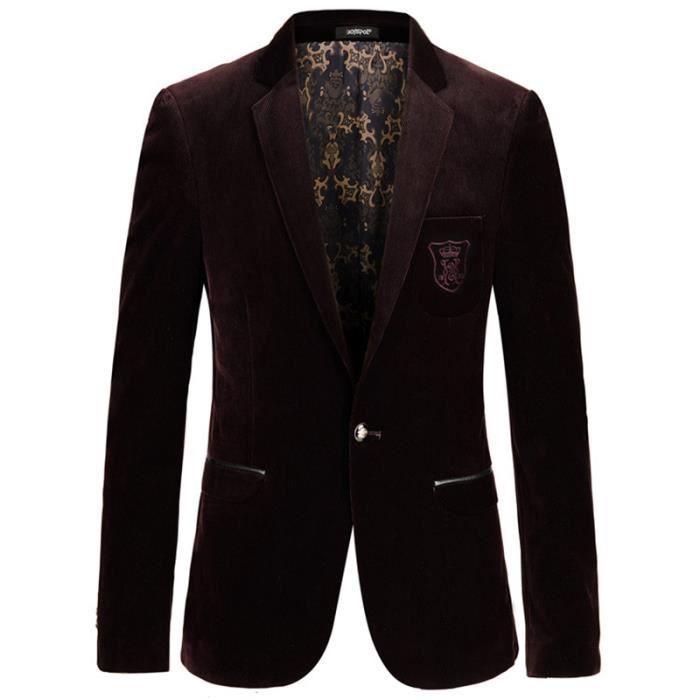 5fe8ba78a029 Hommes Veste de costume de Gentleman style rétr... Vin rouge1 ...