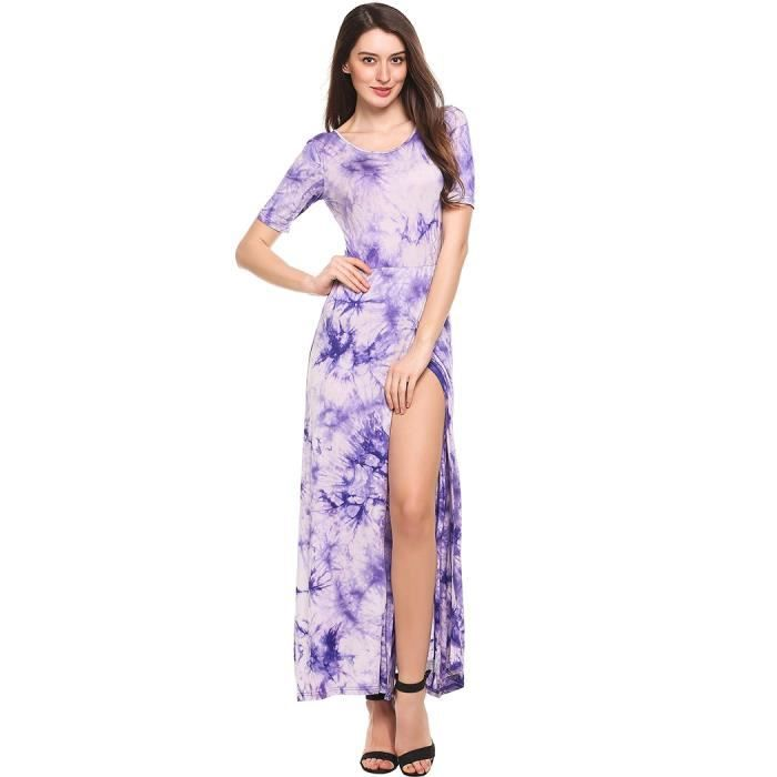 robe Maxi femmes Casual O-cou à manches courtes impressions Split Front Pullover élastique