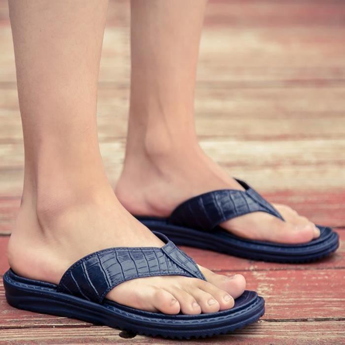 Grande taille simple d'homme Mode coréenne Chaussures Sandales en cuir Hbo6c1