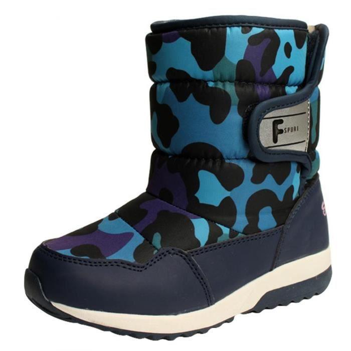 GIFT TOWER Bottine Garçon Enfant Boots de Neige FourréesHiver Camouflage Antidérapant Bleu