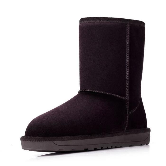 suède bottes de neige pour les femmes chaussures d'hiver en peau de mouton femmes fourrées en cuir de bottes d'hiver de haut de auFHBX