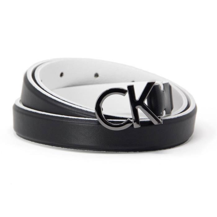 d24532291188 CALVIN KLEIN FEMME K60K604154001 NOIR CUIR CEINTURE Noir Noir ...