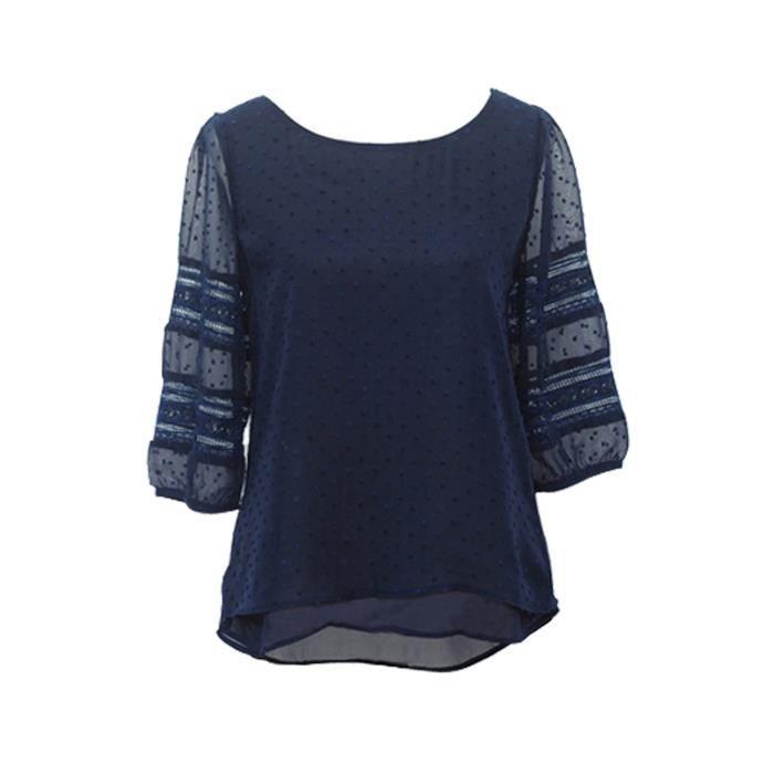 Blouse Vetements Tops Chemise a demi-chemises en mousseline de soie ... 52491f0f1f2