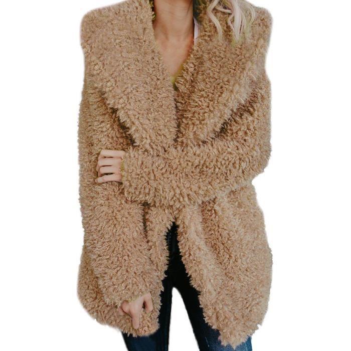 D'hiver Mesdames kaki Laine En Femmes Manteau vêtement Lapel Chaud Artificielle Veste wUx07fPqpn