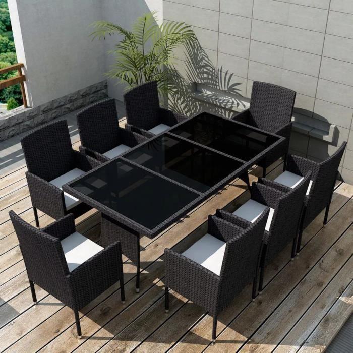 Jeu De Mobilier De Jardin 17 Pcs Noir Ensemble Table Chaise Faute De Jardin Resine Tressee
