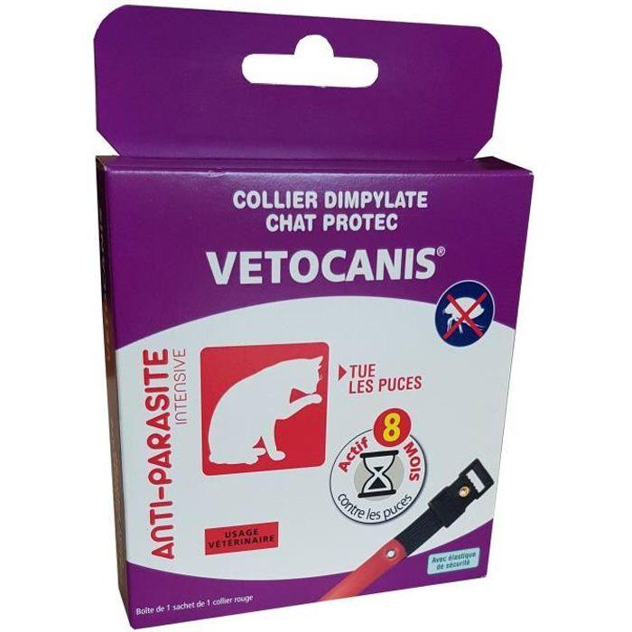 Vetocanis Collier Anti-puces Et Anti-tiques Au Dpdimpylate - 8 Mois De Protection Rouge Pour Chat