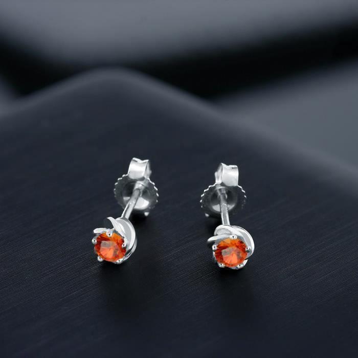 Boucles Doreilles En Or Blanc 10k - Saphir Orange rond - 0.26 ct