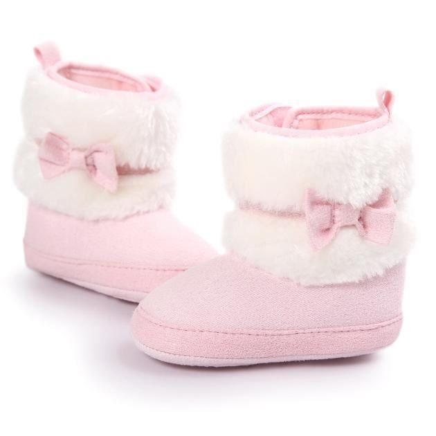 Bébé bowknot garder chaud semelle douce bottes de neige Doux berceau chaussures tout-petits bottes rose