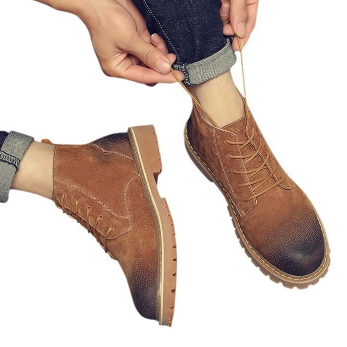 HEE GRAND Boots Homme Cuir Chukka à Lacets Outdoors SVjmtsM