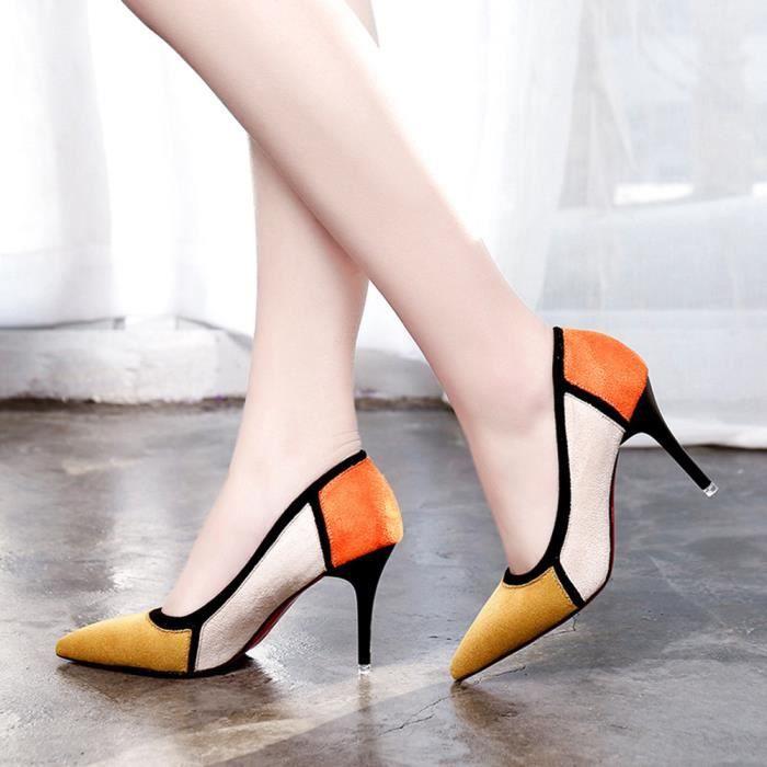 Napoulen®Femmes sandales printemps casual pointues troupeau patchwork talons hauts Jaune-XPP71221732YE OkahZWgZqM