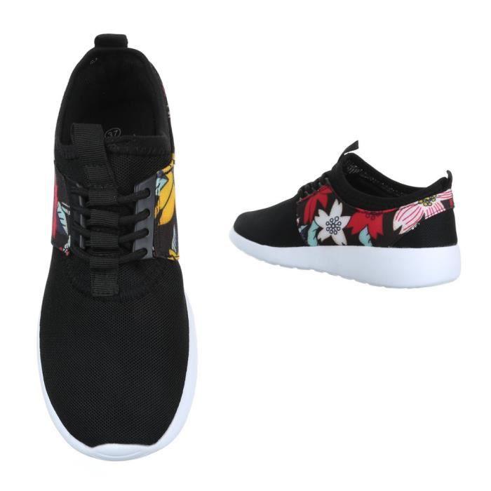 femme chaussures décontractées chaussure coureur chaussure de sportLow-top Baskets lacer ses noir