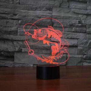 LAMPE A POSER 7 Changement de Couleur Poissons 3D led Lampe USB