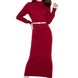 dea28048323d ROBE Robe en laine femme longues haut col avec ceinture