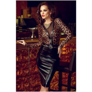 ROBE Top Qualité Femmes Sexy Faux Cuir Robes Manches Lo
