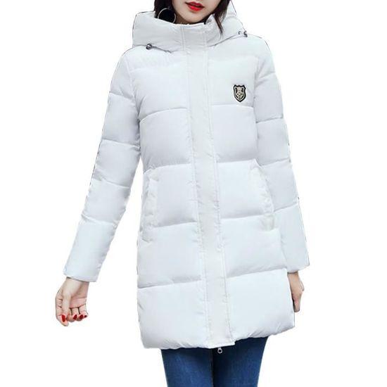 Down Capuche Zipper Size Manches Plus Manteau Femmes Longues Solid EIDH2W9