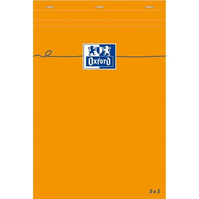 OXFORD Bloc-notes - Petits carreaux - orange - 160 pages - 21 cm x 14,8 cm x 0,9 cm