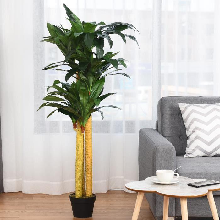Plante Artificielle Faux Arbre 140cm Avec Pot Décoration Intérieur Ou  Extérieur Dracéna Vert