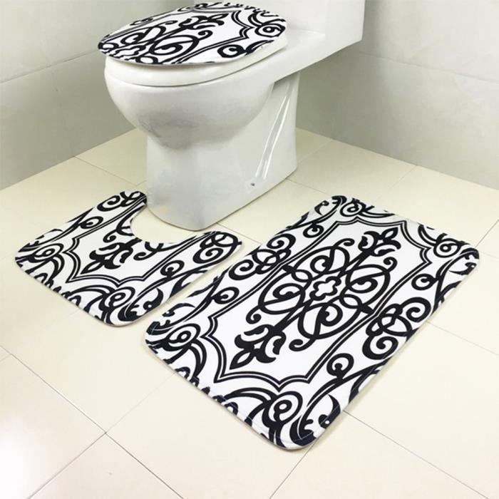 Tapis salle de bain noir et blanc - Achat / Vente pas cher