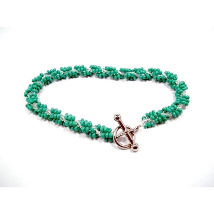 Womens Green And Clear Seed Bead Spiral Bracelet COSOG