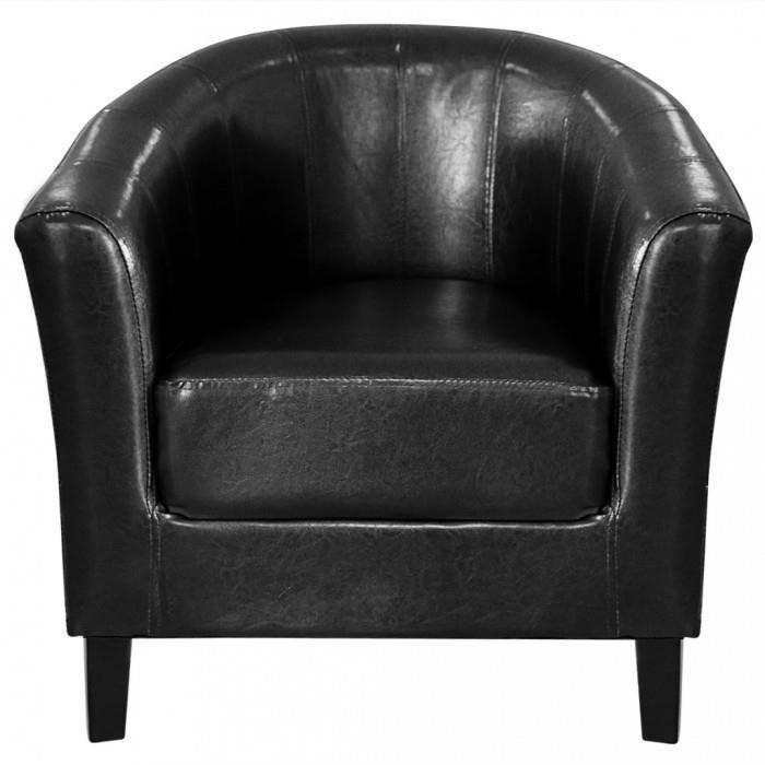 Fauteuils club Fauteuil cabriolet noir en cuir artificiel Achat