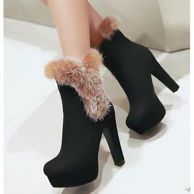 Cuir mat bottes à talons hauts boîte de nuit sexy hiver bottes bottes chaud lapin de fourrure chaussures femmes, noir 38