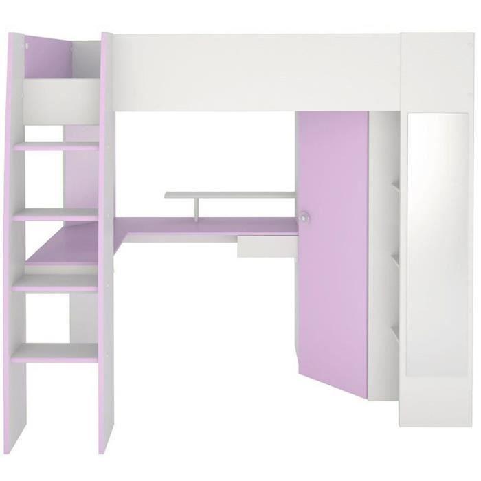 Lit sur lev 90 x 200 cm avec un bureau armoire et des tag res en panneaux de particules for Bureau 200 cm