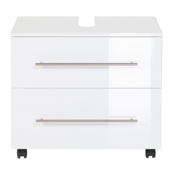 meuble sous vasque 70 cm avec roulette blanc laqu