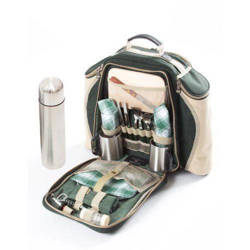 Panier de pique-nique style sac à dos 2personnes Vert 60C3x